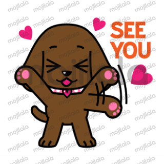 animated stickers of Miss Muddy Puppy, the chocolate lab puppy with an attitude