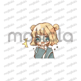 The Sticker which can be used in daily life's conversation filled with various expressions of a bear of a girl and a friend of circle glasses.