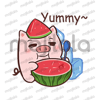 Life is fantastic.Watermelon pig likes summer!