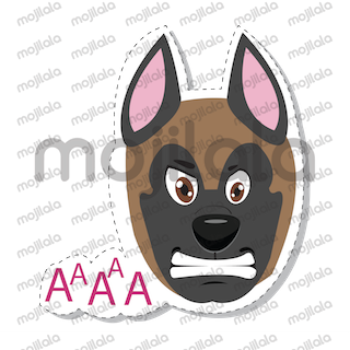 Malinois, or in other words Belgian shepard dog stickers. prety fun and can be found on istore and google play.