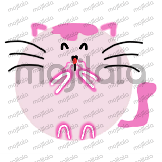cute pink round kitty cat emojis