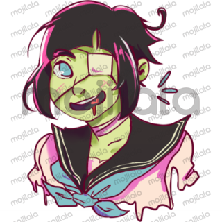 She's Sarah Mobiet! A zombie girl with sailor fuku! She likes brains and U! You collect her stickers!