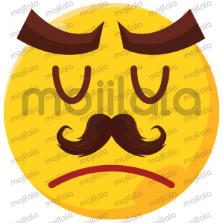 fully illustrated rendition of classic emojis --- with moustache