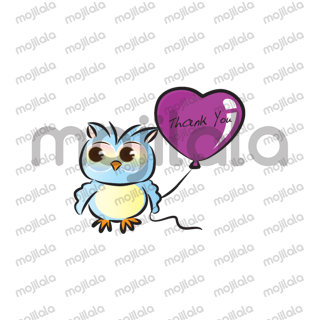 lovely owl holding a balloons