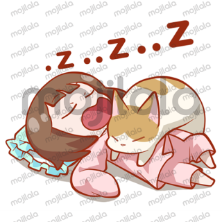 Make your daily conversation more cheerful with this sticker package of Lily and her cat!
