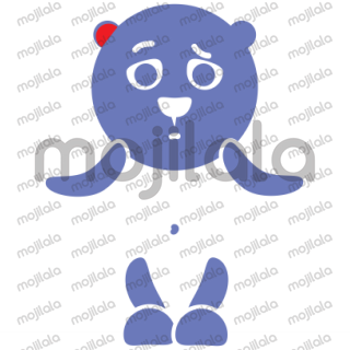 blue bear with the red ear