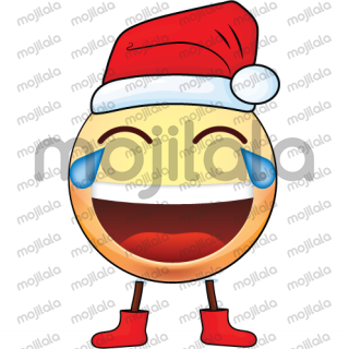 Big Emoji Faces with Christmas Hat