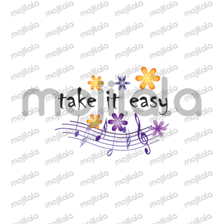 music and flower greeting card