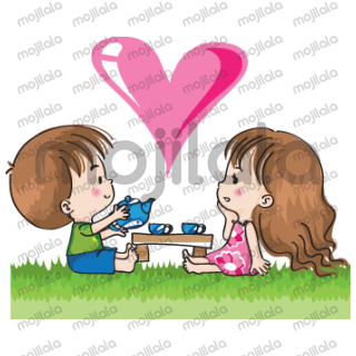 Lovely boy and girl happy together
