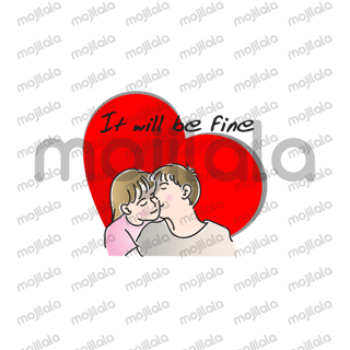 Man & woman fall in love stickers.