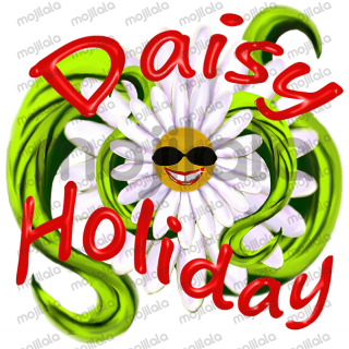 Daisy flower character goes on holiday