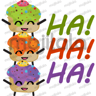 Daily conversations, cupcake sticker with cute expressions, colorful and happy vibe.