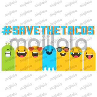 #savethetacos cute Nacho, Taco, and Ole' emojis