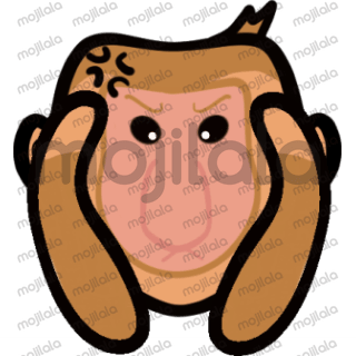 cute long nose monkey (Proboscis Monkey) with different emotions.