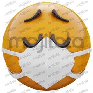 3D render of yellow emoji face in medical mask protecting from coronavirus 2019-nCoV