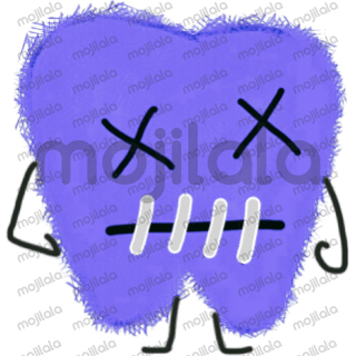 cute purple cavity free molar tooth stickers