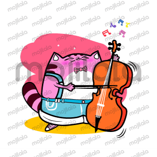 Musician Cat playing different instruments