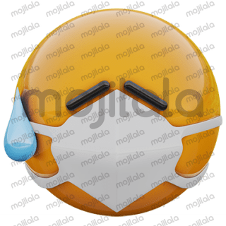 3D render of yellow emoji face in medical mask protecting from coronavirus covid 19