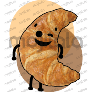 Cute croissant sticker package.