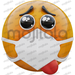 3D render of happy religious fanatic yellow emoji face in medical mask protecting from coronavirus covid19