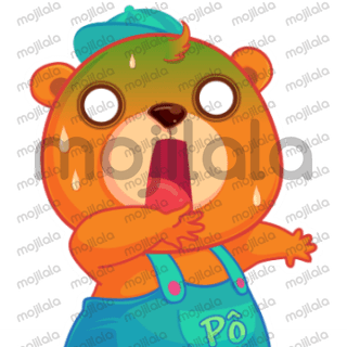 """Gấu Pô sinh ra vào năm 2015 và lớn lên tại POPS Worldwide. Pô là người bạn thân thiết, gần gũi với các em bé qua các series videos """"Vui học cùng Gấu Pô"""", series ca nhạc """"Mầm Chồi Lá"""". Bộ sticker này là những khoảnh khắc đáng yêu của Pô."""